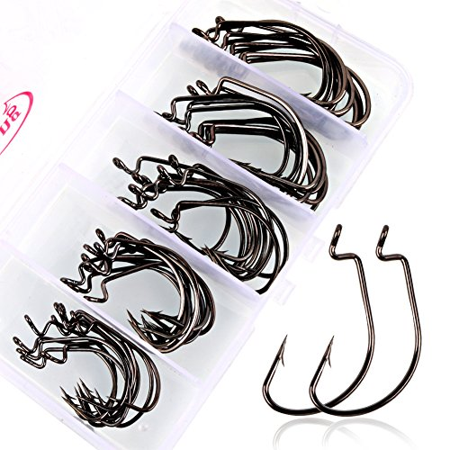 Sougayilang Fishing Hooks High Carbon Steel Worm Senko Bait Jig Fish Hooks with Plastic Box (50Pcs Jig Hooks with Box)
