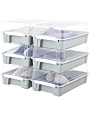 Impr3.Tree Under Bed Shoe Organizer Shoes Box Closet Storage Solution Boots Bins,6-Pack