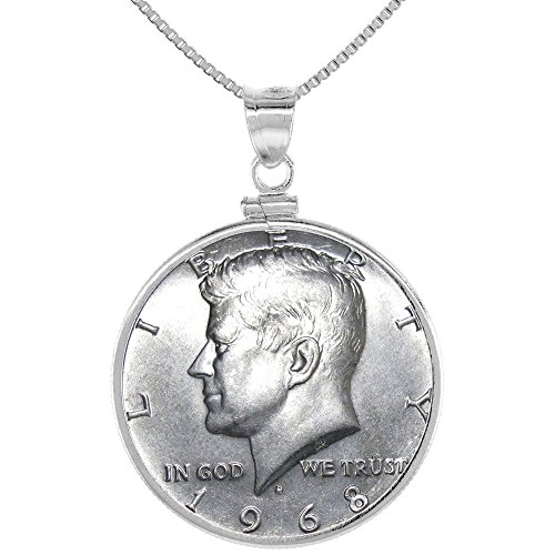 - Sterling Silver Kennedy Half Dollar Necklace Clad Screw Top Coin Bezel 1965-69