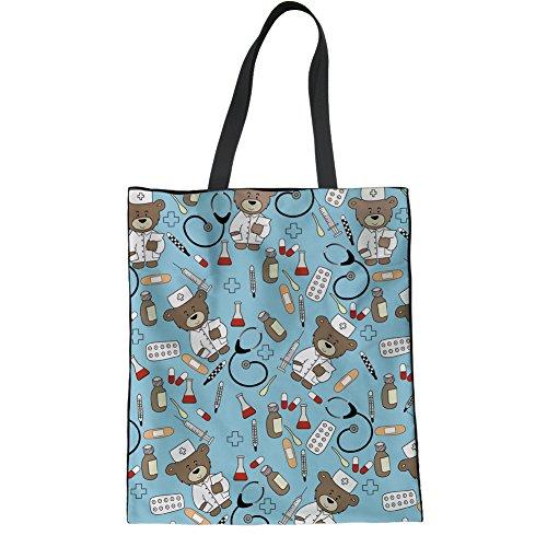 Tote Book Linen for Bag Girls Reusable 1 Coloranimal Bag Pediatrics Pattern Science 8WFngqt