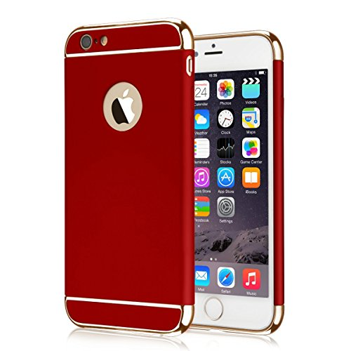 Coated Case (iPhone 6S Case, iPhone 6 Case Seekfull Ultra Thin 3 In 1and Slim Hard Shockproof Case Coated Non Slip Matte Surface with with Tempered Glass Screen Protector for Apple iPhone 6/6S (4.7'') (Red))
