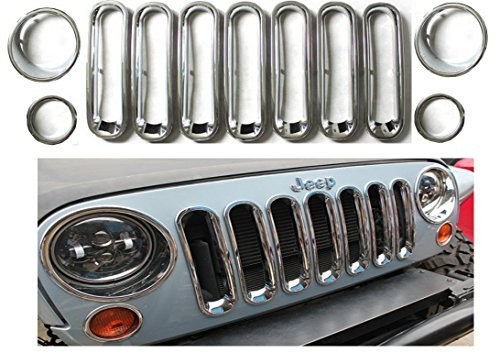 - Chrome Silver Front Grille Grill Mesh Grille Insert Kit Light Lamp Cover Trim for 2008 2009 2010 2011 2012 2013 2014 2015 2016 2017 2018 Jeep Wrangler JK Black 2 4 Door