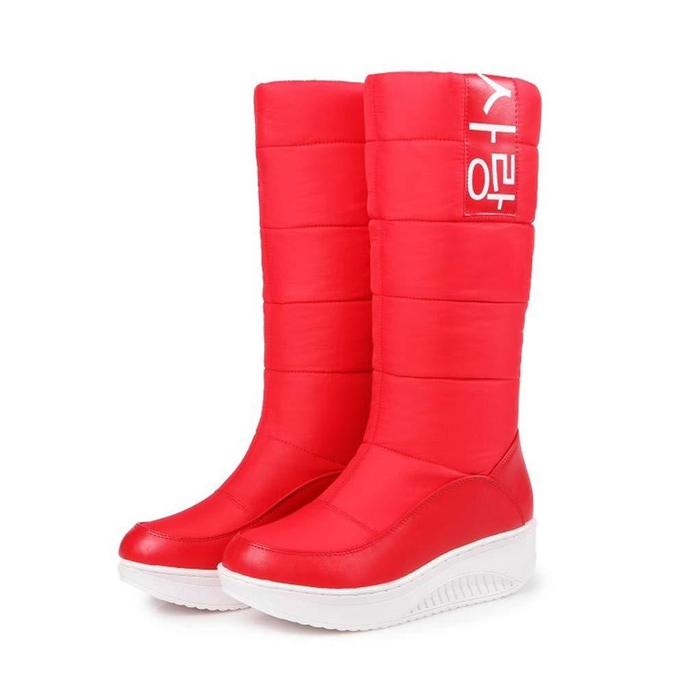 MHCDXGN Damen Schnee Schnee Damen Stiefel Rot Dick Unten Herbst Und Winter Warm Hohe Röhren Student Mode Beiläufige Frauen Stiefel 578c84