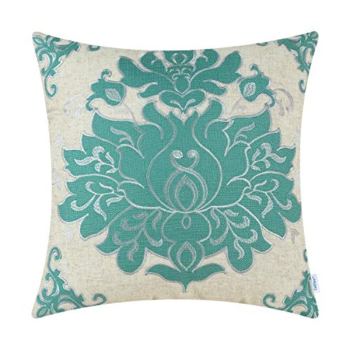 Embroidered Applique Pillow - CaliTime High Class Throw Pillow Cover Case for Couch Sofa Home Decoration Vintage Damask Floral Applique Embroidered 20 X 20 Inches Teal Silver