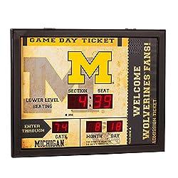 Team Sports America NCAA Bluetooth Scoreboard Wall Clock, Michigan Wolverines