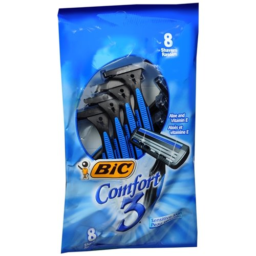 Triple Blade Shavers! 'BIC Comfort 3' Sensitive for Men, Disposable Shaver (Pack of 6, 8 ea)