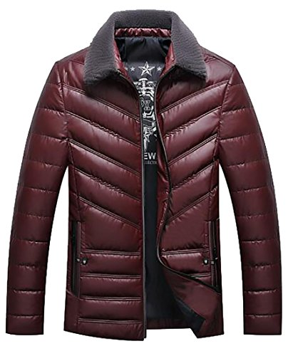 Hot Sale-UK Men's Winter Faux Fur Collar Zip-Up Quilted Padded Down Jackets Coat Red