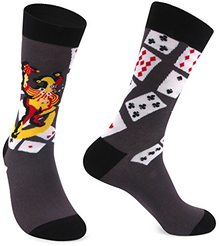 Delisocks Men's Cool Design Las Vegas Poker Card Joker Cotton Fashion Casual Crew Socks; - Show Vegas Shops Las Fashion At