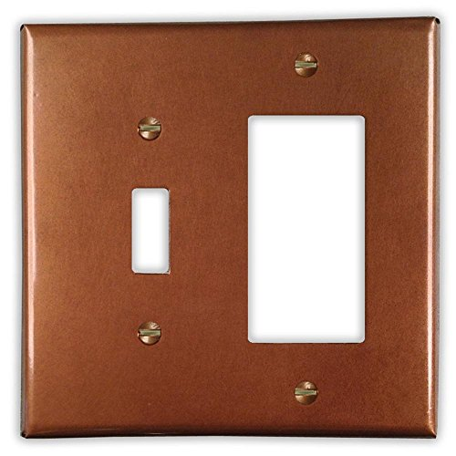 Antique Copper 1 Toggle / 1 Rocker Wallplate by Copper Ventures