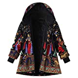 HYIRI Novelty Pockets Vintage Oversize Hasp Coats,Womens Winter Warm Outwear Print Hooded