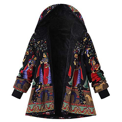 - XOWRTE Women's Vintage Print Coat Hooded Pockets Oversize Hasp Jacket Winter Warm Overcoat Outwear