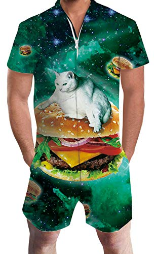 Green Galaxy Cats Romper Sets for Youth Adult Men Boys Short Sleeve Jumpsuits Animal Zip Up Baggy Hawaiian Clothing Juniors Male 60 70s 80 90s Guy Dad and Son Festival Gift Home Gym Sport Party ()