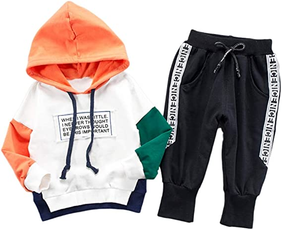 Gyratedream V/êtements B/éb/é Gar/çon Sweat-Shirts /à Capuche Pantalon 2Pcs Ensemble Surv/êtements T-Shirt Haut /à Manches Longues Leggings Pantalons de Sport 0-4 Ans Enfants