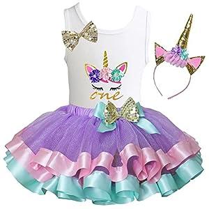 Kirei Sui Girls Lavender Pastel Satin Trimmed Tutu & Birthday Unicorn Tee