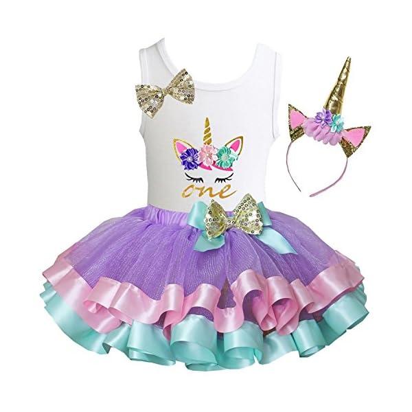 Kirei Sui Girls Lavender Pastel Satin Trimmed Tutu & Birthday Unicorn Tee 3