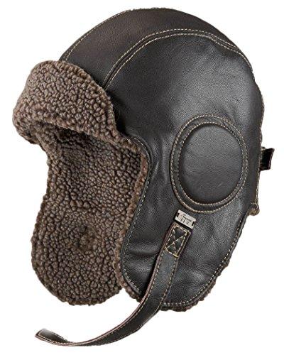 frr Dark Brown Leather Pilot Hat - L