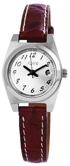 Reloj mujer con piel imitación pulsera plateado reloj de pulsera reloj 100722500003: Amazon.es: Relojes