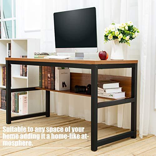 TOPSKY 55'' Computer Desk with Bookshelf/Metal Desk Grommet Hole Wire Cover (Oak_Brown+Black Frame) by TOPSKY (Image #4)