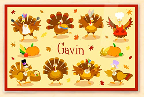 (Olive Kids Personalized Thanksgiving Turkeys Placemat, Laminated 18