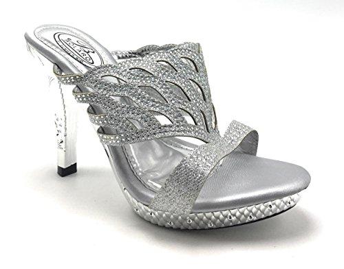 Donne Brillantini Strass Tacco A Zeppa Peep Toe Dressy Prom Scarpe Sandalo Delicatezza Argento / Bolaro-1506