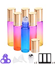Essential Oil Roller Bottles 10ml ( Rainbow Color Oils Glass Bottles, 6 Pack, 2 Extra Roller Balls, 12 Labels, Opener, Funnels by PrettyCare ) Roller Balls For Essential Oils, Roll on Bottles