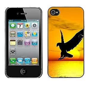 Caucho caso de Shell duro de la cubierta de accesorios de protección BY RAYDREAMMM - Apple iPhone 4 / 4S - Hawk Eagle Bird Wild Flight Sunset Yellow