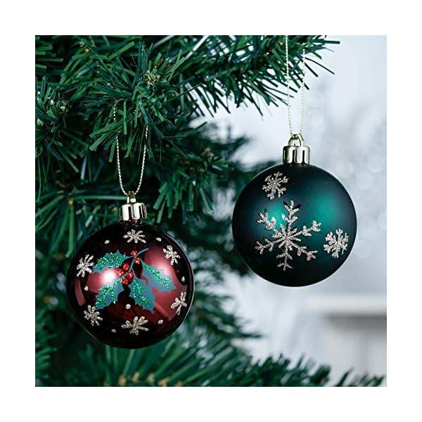 Valery Madelyn Palle di Natale 9 Pezzi 6 cm Palline di Natale, Strada di Campagna Rosso Verde e Oro Infrangibile Ornamenti Palla di Natale Decorazione per Albero di Natale Decor 4 spesavip
