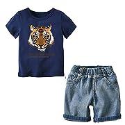Boys Tee Shirts Clothing Sets Short Sleeve Top Jeans Shorts Pants Navy 4-5 Years
