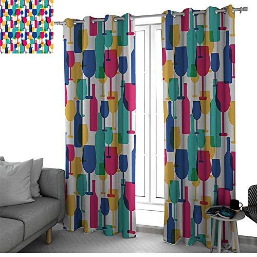 Winery Decor Collection Room Darkening Blackout Grommet Patio Door Curtain Panel Cocktail Glass and Wine Bottle Pattern Bar Menu Party Alcohol Drinks Festive Image small window curtain Magenta -