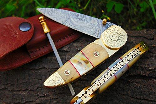"DKC Knives SALE DKC-176 BRASS PRINCE Damascus Steel Folding Pocket Knife Custom Handmade Pearl 4.5"" Folded 8"" Long 7.2oz oz High Class Looks Incredible Hand Made"