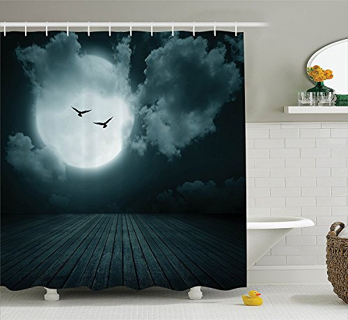 [Gothic Decor Collection Danger Night with Cloudy Full Moon and Bats Birds in the Dark Haunted Lands Artful Print Polyester Fabric Bathroom Shower Curtain] (Danger Mouse Halloween Costume)