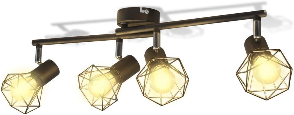 vidaXL Plafonnier Cadre Noir de projecteur Industriel /à 4 Ampoules LED /à Incandescence