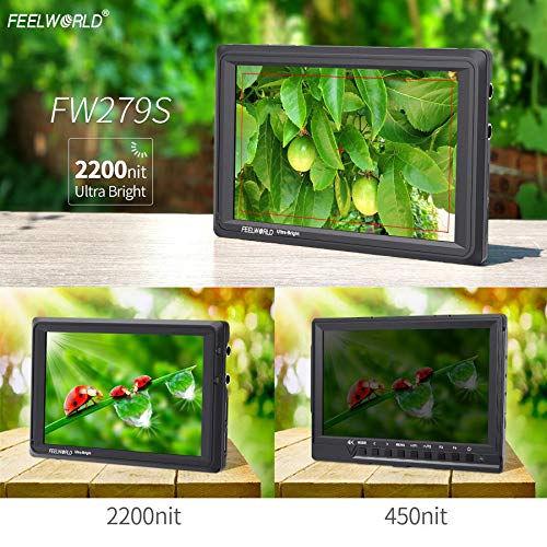 FEELWORLD FW279S 7 Inch 4K HDMI 3G-SDI 2200nit Daylight Viewable 1920x1200 On-Camera Field Monitor with Histogram, Focus Assist, Zebra Exposure, False Color, Check Field, Pixel to Pixel for DSLR Camer by FEELWORLD (Image #2)