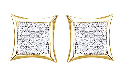 10K Solid Yellow Gold Round Cut Diamond Hip Hop Cluster Stud Earrings (0.37 Cttw) by wishrocks