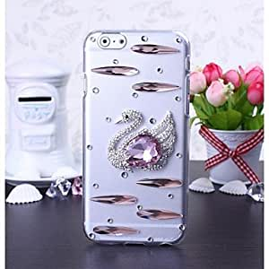 ZXSPACE DIY Swan with Rhinestone Pattern Plastic Hard Cover for iPhone 6
