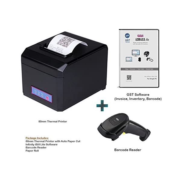 Infinity Infocom 80mm Thermal Printer, Barcode Reader, GST Invoicing, Inventory, Barcode Software