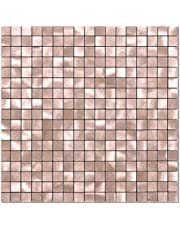 BeNice Peel and Stick Backsplash Tile Stickers Backsplash Kitchen,Peel and Stick Tile for Bathroom Wall Adhesive Tiles Peel and Stick on Small Tile Metal Tiles Square-5sheets