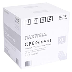 Daxwell Poly Gloves, Embossed, Premium Cast Polyethylene (CPE), Powder Free, Extra Large, Clear, F10000183 (Case of 1,000, 10 Boxes of 100)