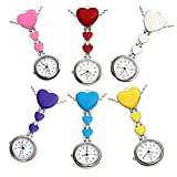 Top Plaza Womens Girls Heart Angle Wing Nurse Fob Clip On Brooch Hanging Pocket Watch - Pack of 6
