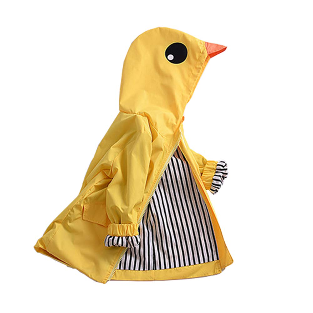 BELS Baby Girls Boys Clothes Cartoon Yellow Duck Hood Jacket Zip up Raincoat Outdoor Outfit (Yellow, 80/1-2Y)
