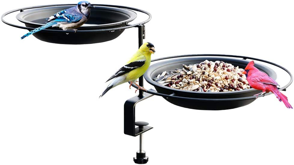 Solution4Patio Expert in Garden Creation #G-B124A00-US Urban Apartment Deck Rail Bird Feeder & Bird Bath, Balcony Platform Removable Metal Tray 8