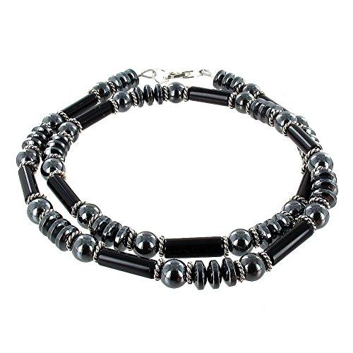 Timeless-Treasures Men's Black Agate, Hematite & Sterling Silver Beaded Necklace (Handmade in USA) - 24
