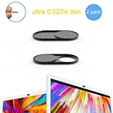 Cimkiz WB01 Webcam Cover Slider, 0.027in Ultra Thin Metal Magnet Web Camera Cover, for Laptops Macbooks PCs Tablets-for Protecting Your Privacy-2 packs(black)