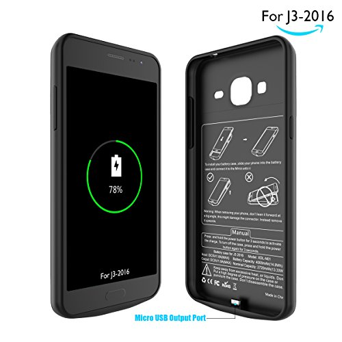 Samsung J3 Battery situation Newdery Extended power 4000mAh Charger situation Rechargeable Protective Charging situation for J3 2016 320V J3 Amp Prime Black Battery Charger Cases