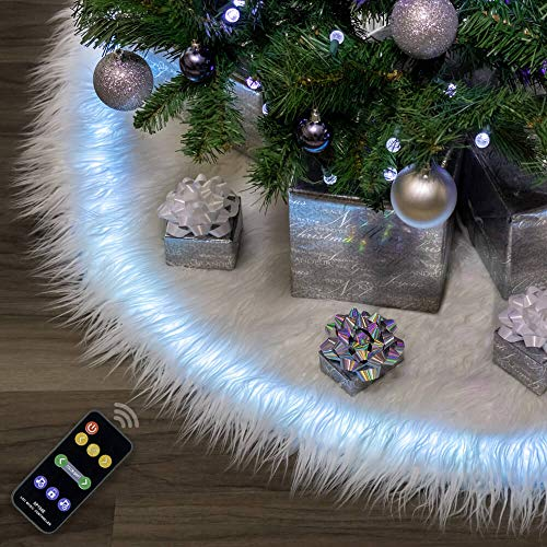 """Halo Christmas tree skirt 60"""" White Plush Faux Fur with Programmable LED Lights/Music Sync"""