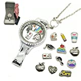 Dotiow Floating Locket Lanyard ID Badge Holder School Floating Charms Teacher Gift