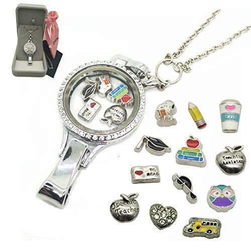 High School Musical Heart Necklace - Dotiow Floating Locket Lanyard ID Badge Holder School Floating Charms Teacher Gift
