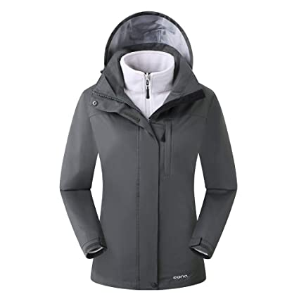 Eono Essentials - Chaqueta para mujer 3 en 1 con capucha fija (gris oscuro, XL)|Chaqueta impermeable mujer