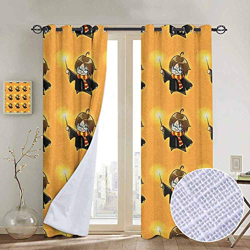 NUOMANAN Window Curtain Fabric Wizard,Cartoon Wizard Character with Glasses in Costume Frock with Magical Wand Print, Orange Black,Rod Pocket Curtain Panels for Bedroom & Living Room 100