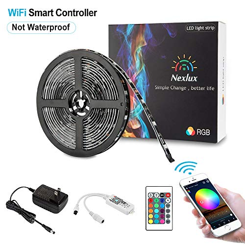 Nexlux-LED-Strip-Lights-164ftWifi-Wireless-Smart-Phone-Controlled-Light-Strip-Kit-5050-LED-LightsWorking-with-Android-and-iOS-SystemAlexa-Google-Assistant